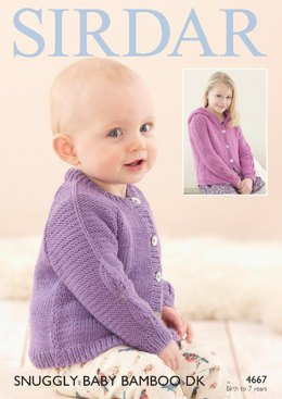 Cardigans in Sirdar Snuggly Baby Bamboo DK - 4667- Downloadable PDF