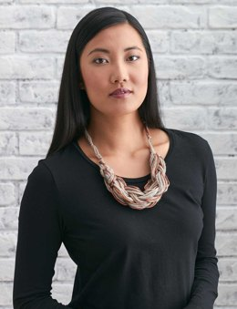 Arm Knit Necklace in Patons Metallic
