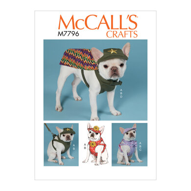 McCall's Dog Hats, Harness and Cape M7796 - Sewing Pattern