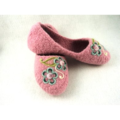 Ladies House Slippers Felted Knit Pattern