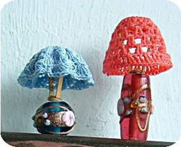 1:12th scale crochet lamp shades