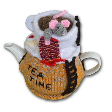 Mouse in a Cup Tea Cosy Knitting Crochet pattern by T Bee Cosy