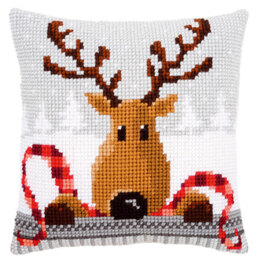 Vervaco Reindeer With a Red Scarf Cushion Front Chunky Cross Stitch Kit