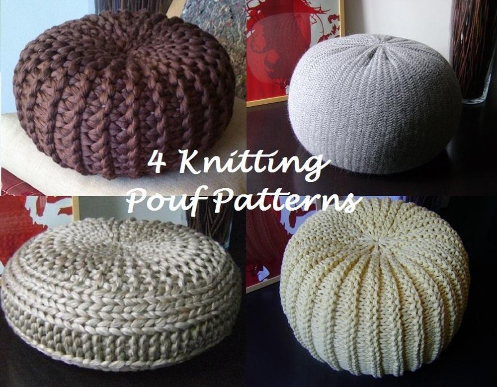 4 knitted pouf floor cushion patterns tutorials pouffe for Floor knitting