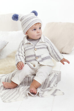 Childrens Cardigan, Knit Hat, and Blanket in King Cole Stripe DK in King Cole - 5593