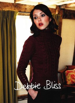 Open Cable Sleeve Sweater in Debbie Bliss Blue Faced Leicester Aran