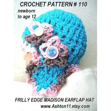 Frilly Edge Earflap Hat | Crochet Pattern 110