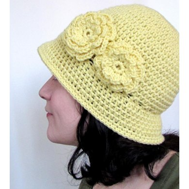 Cloche Hat with Two Flowers