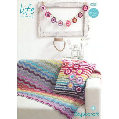 Blanket, Cushion Cover and Bunting in Stylecraft Life DK - 9091