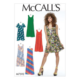 McCall's Misses' Pullover Bias-Cut Tank Dresses M7592 - Sewing Pattern