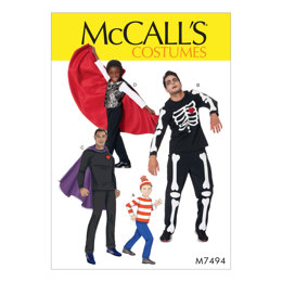 McCall's Men's/Boys' Skeleton, Hero, Vampire and Character Costumes M7494 - Sewing Pattern