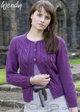 Double Cabled Cardi in Wendy Mode Dk - 5517