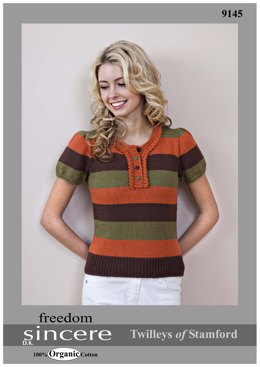 Striped Button Neck Top in Twilleys Freedom Sincere - 9145