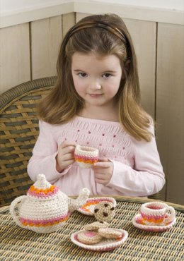 Tea and Cookies Party Set in Red Heart Super Saver Economy Solids - LW2474