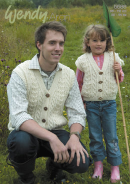 Cable Waistcoats in Wendy Aran with Wool 100g - 5586