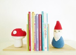 Gnome and Toadstool Book Ends