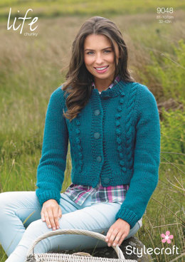 44a62ec3942901 Womens  Cropped Bobble Cardigan in Stylecraft Life Chunky