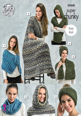Wrap, Blankets, Scarf, Snood, Knot in King Cole Gypsy Super Chunky - 5068 - Leaflet