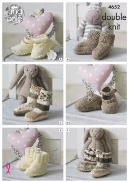 Socks, Booties & Shoes in King Cole Cherish  - 4652 - Downloadable PDF