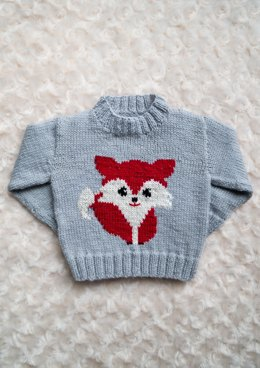Intarsia Fox Chart Childrens Sweater