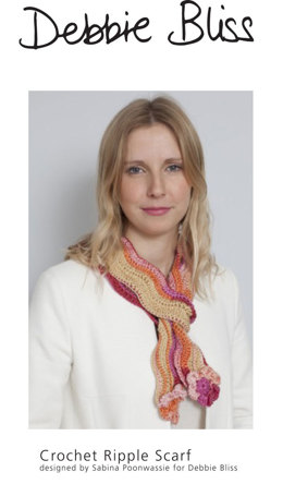 Crochet Ripple Scarf in Debbie Bliss Luxury Silk DK