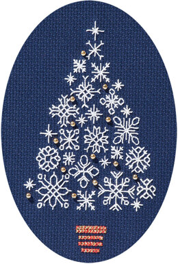 Derwentwater Designs Snowflake Tree Card Cross Stitch Kit - 12.5cm x 18cm