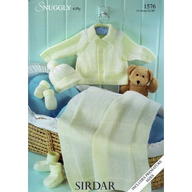Jacket, Hat, Mittens, Bootees and Blanket in Sirdar Snuggly 4 Ply - 1576