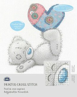 DMC Me To You - Tatty Teddy & Tiny Tatty Teddy - Patchwork Heart (printed fabric) - 15cm x 15cm