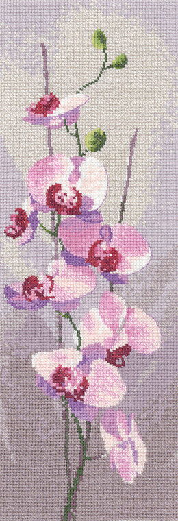 Heritage Orchid Panel, 14 count Aida Cross Stitch Kit - 11cm x 31cm