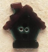 Mill Hill Button 43029 - Birdhouse Dark Green with Brown