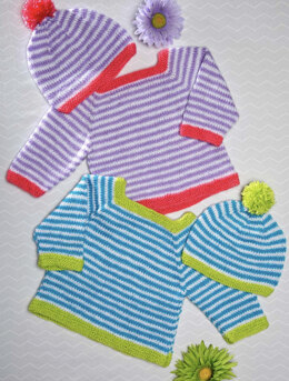 Striped Pullover and Hat Set in Premier Yarns Anti-Pilling Everyday Baby - Downloadable PDF