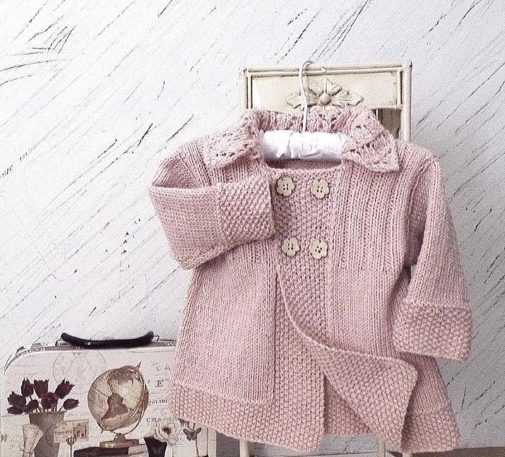Baby Girls Jacket With Lace Collar Knitting Pattern By Oge Knitwear