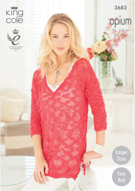 Ladies' V Neck and Boat Neck Sweaters in King Cole Opium - 3683
