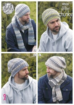Hats and Scarves in King Cole Drifter Chunky - 4608 - Downloadable PDF