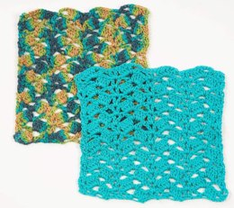 Cascading Shells Crochet Washcloth in Plymouth Yarn Fantasy Naturale - F224