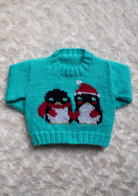 Intarsia Lovely Penguins Chart Childrens Sweater Knitting