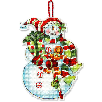 Dimensions Snowman with Sweets Ornament Cross Stitch Kit