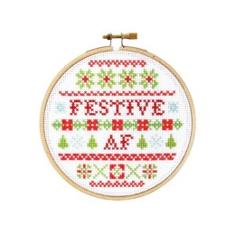 The Stranded Stitch Festive AF Cross Stitch Kit - 5 inches