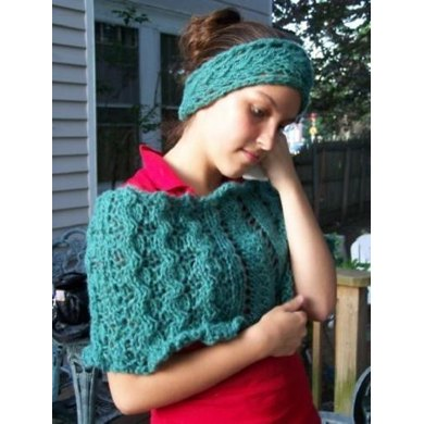 Lacy Cabled Cape and headband