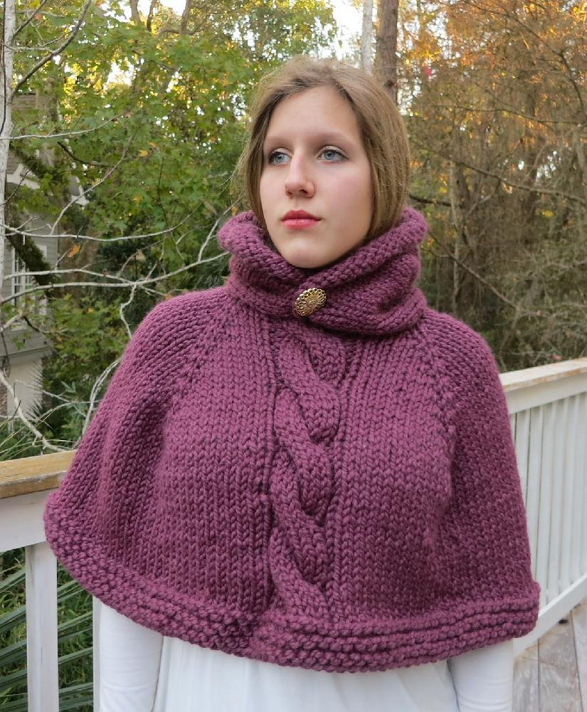 Hooded Poncho Brittaney Knitting pattern by Grace Rose