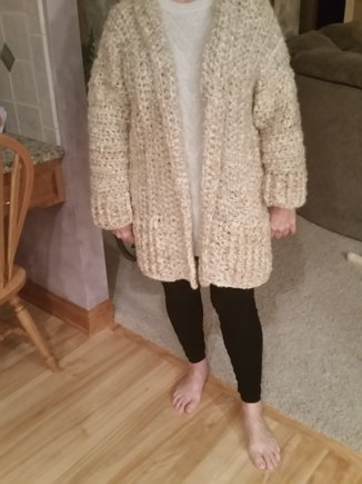 9ab189a4232d Chunky cardigan the big chill crochet project by Debbie M