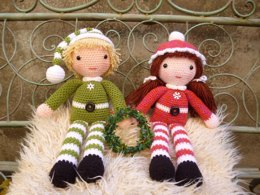 Beau and Belle Christmas Winter Dolls, Amigurumi Crochet Pattern