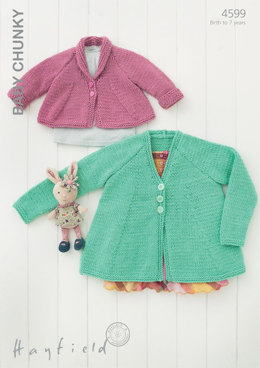 V Neck and Shawl Collared Cardigans in Hayfield Baby Chunky - 4599