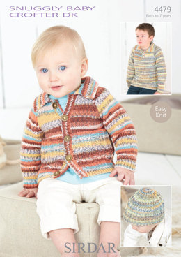 Sweater, Cardigan and Hat in Sirdar Snuggly Baby Crofter DK - 4479