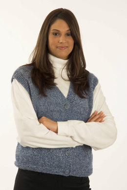 Ladies V-Neck Vest in Plymouth Encore Worsted - F172