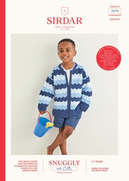 Kids Cardigan in Sirdar Snuggly 100% Cotton - 2574 - Downloadable PDF