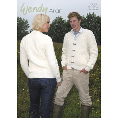 Round and V Neck Cabled Cardigans in Wendy Aran with Wool - 5585