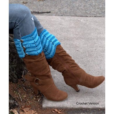 Knit And Crochet Boot Toppers in Plymouth Yarn Galway Sport - F636