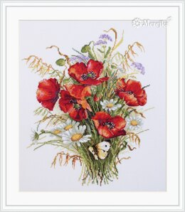 Merejka Poppies & Oats Cross Stitch Kit - 27cm x 33cm