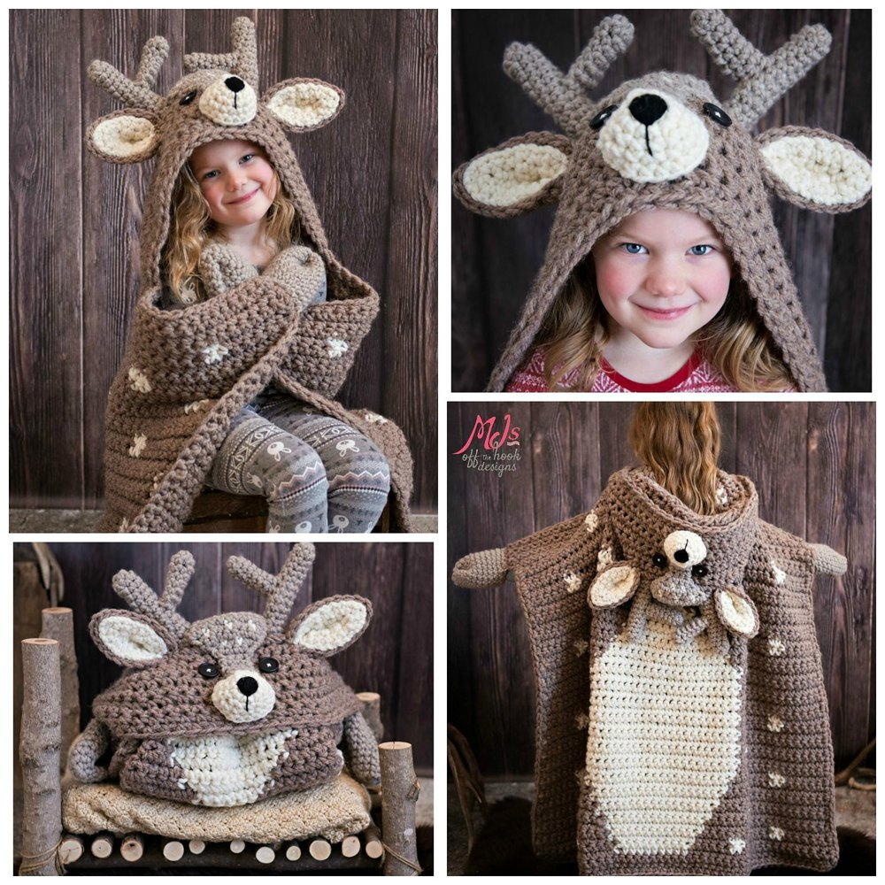 Hooded Woodland Deer Blanket Crochet Pattern By Mjsoffthehook